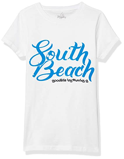 M Marky G Apparel Girls Printed Beach Please Graphic Fine Jersey T-Shirt Natural