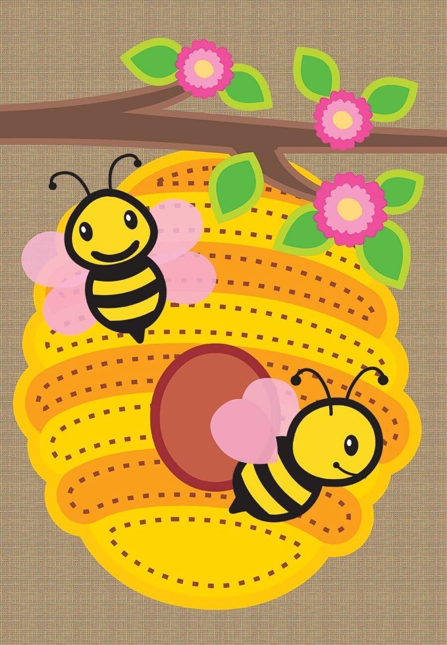 "Briarwood Lane Beehive Burlap Spring Garden Flag Bees Flowers 12.5"" x 18"""