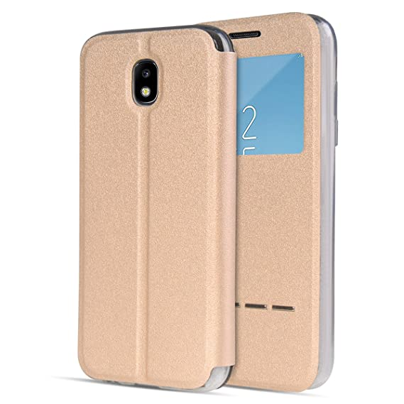 finest selection ec78b 4a14b Amazon.com: UBERANT Galaxy J7 Pro Flip Cover, [Window View Style ...