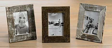 distressed wood picture frames white kindwer distressed wood frames by 6inch set of amazoncom