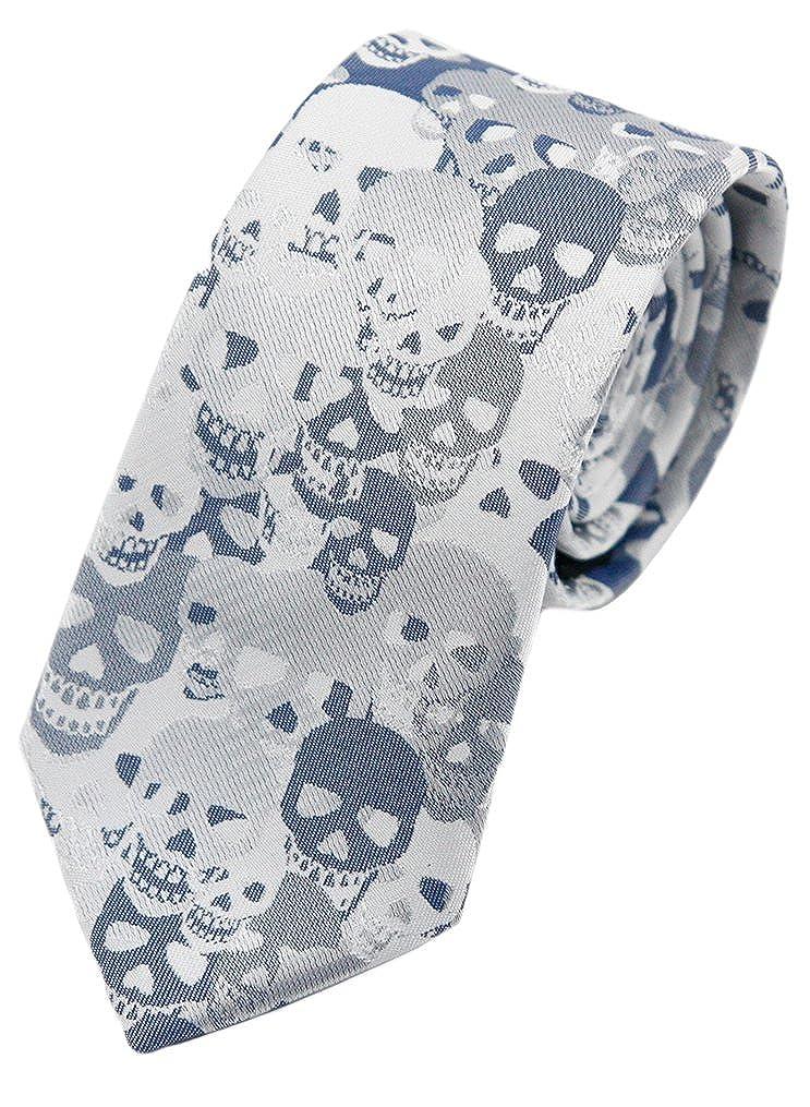 MENDENG Blue Brown Skull Crossbones Necktie Skeleton Halloween Funny Party Tie
