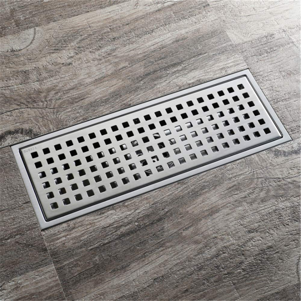 Small Household Floor Drain Quadrato Pattern Anti-clogging Bathroom Linear Floor Drain Deodorant Tile Insert Stainless Steel Rectangle Shower Floor Drain For Kitchen Washroom Garage Toilet For Bathroo