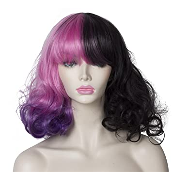 Image Unavailable. Image not available for. Color  ColorGround Women s 2  Tone Half Black Half Ombre Color Cosplay Wig ... bd86d39e8