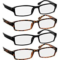 9d04dd8837a8 Reading Glasses Men and Women - 4 Pack Readers Spring Hinge   Dura-Tight  Screws