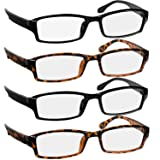 Reading Glasses 1.5 2 Black & 2 Tortoise Fashion