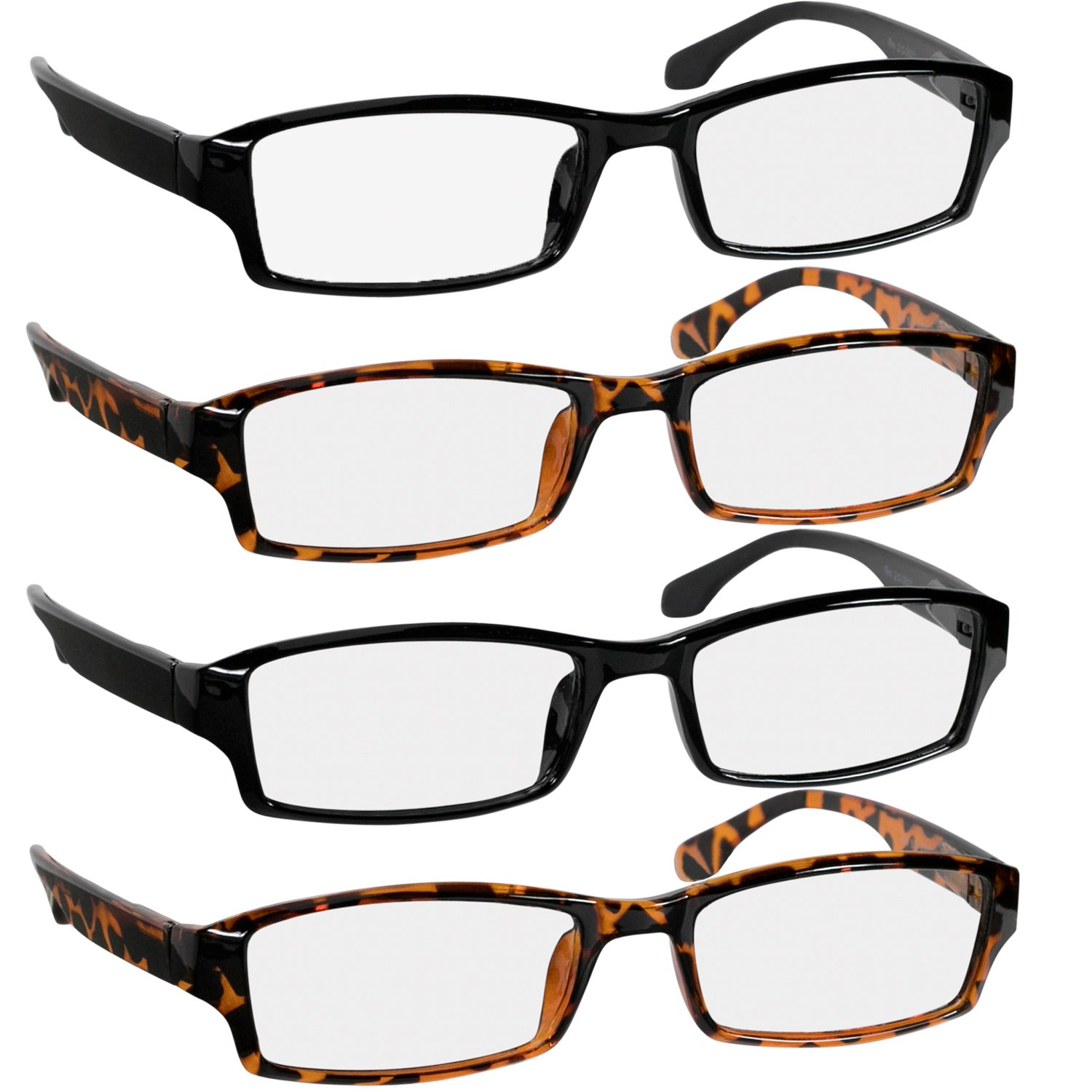 Reading Glasses 3.0 2 Black & 2 Tortoise Fashion Readers for Men & Women - Spring Arms & Dura-Tight Screws Have a Stylish Look and Crystal Clear Vision When You Need It!