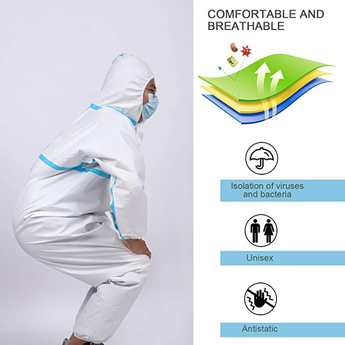 YIBER NEWEST Disposable Protective Coverall Suit Full Body Protective from Hazmat and Contamination 1pcs // pack S Heavy-Duty Protective Suits Chemical Protection