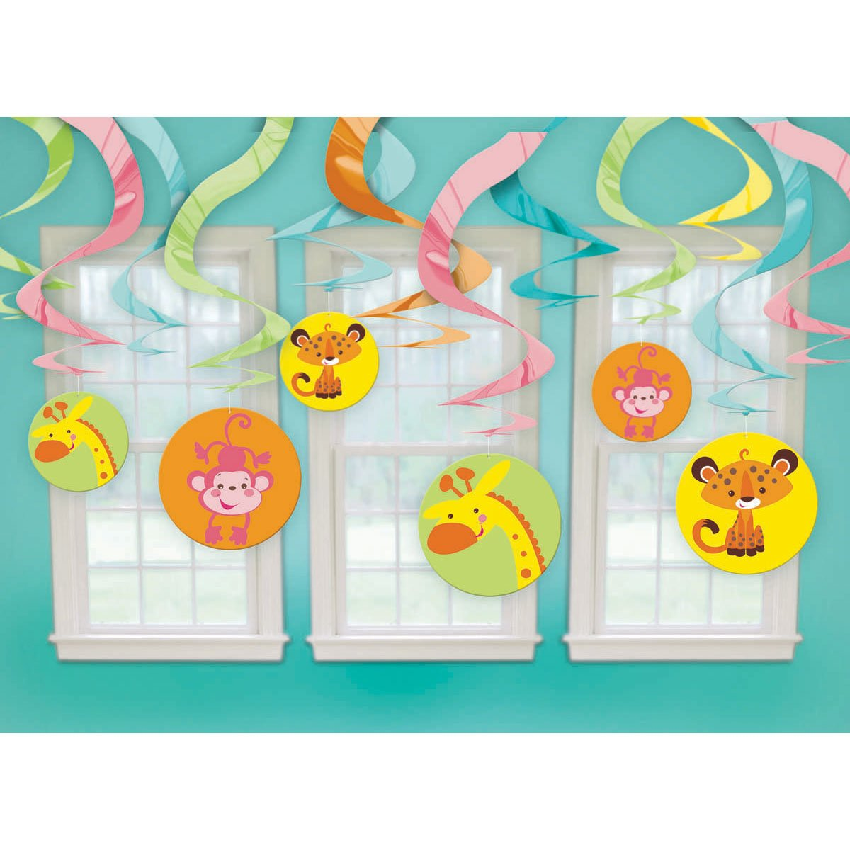 Amazon.com: Fisher Price Animals Of The Rain Forest Hanging Swirl  Decorations (12pc): Toys U0026 Games