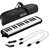 CAHAYA Melodica FDA Approved 2 Double Mouthpieces Tube Sets Pianica Melodicas Piano Style 32 Key Portable with Carrying Bag [New Version]