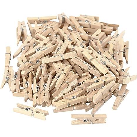 fd063c1bd31af Mini-Holz-Wäscheklammern, 100 Stück, Länge: 30 mm., Breite: 4 mm.  Handgefertigte Dekoklammern zum Basteln und für tolle Deko-Ideen, in ...