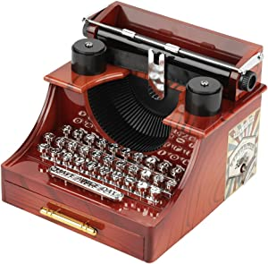 Retro Typewriter Music Box, Quality Material, Gift Table Decoration, Birthday Present, Decorations for Home Office Shop Clothing Store, Cute Vintage Typewriter