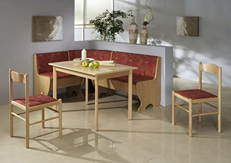 Dreams4home Rio Corner Dining Set Table 2 Chairs Modern 159 X 119 X 79 Cm Beechwood Effect Red Corner Bench Kitchen Table Set Of 4 Country Home Kitchen Amazon De Kuche Haushalt