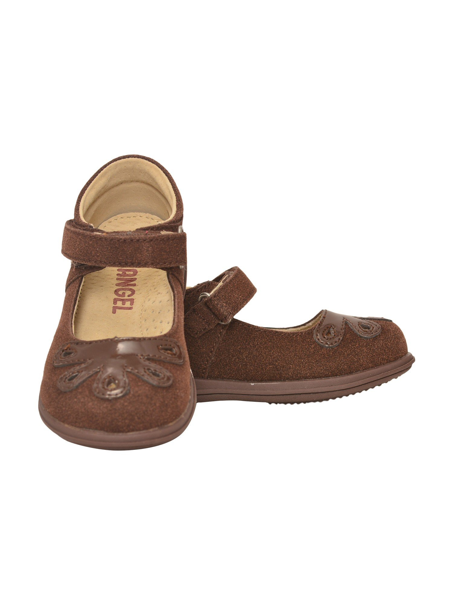 Angel Girls Brown Bloom Leather Lining Gum Sole Mary Jane Shoes 12 Kids