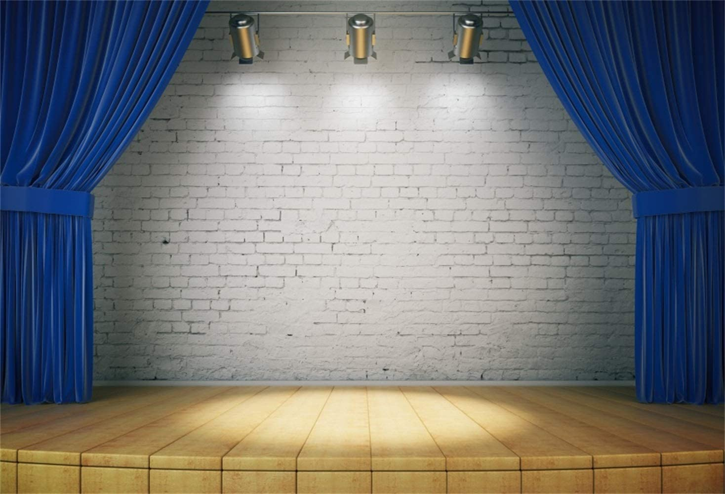 12x10ft Vinyl Polyster Backdrop The Blue Stage Curtain Wood Floor Photography Background Photo Studio Props Wall LY073 for Party Decoration Birthday YouTube Videos School Photoshoot Photo Background P