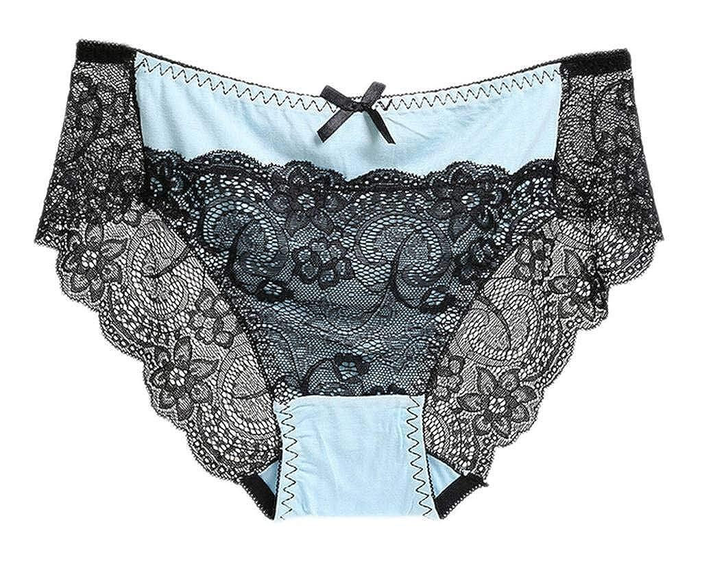 COMVIP Women Lace Seamless Bikini Underwear Half Back Coverage Panties