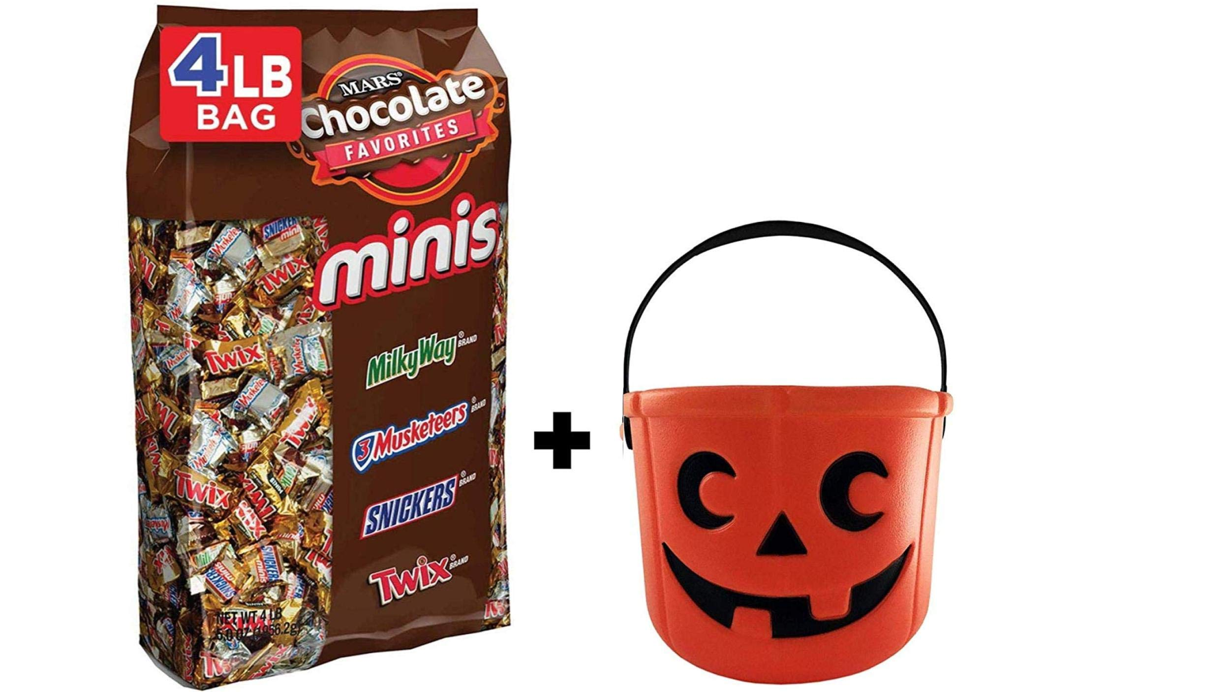 SNICKERS, TWIX, MILKY WAY & 3 MUSKETEERS Minis Size Chocolate Halloween Candy Bars Variety Mix by Mars