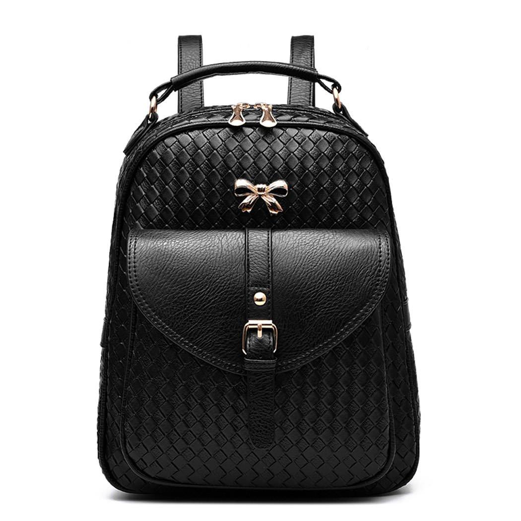 DEERWORD Damen Rucksackhandtaschen Schultertaschen Schulrucksack Tagesrucksack Laptoptasche Leder