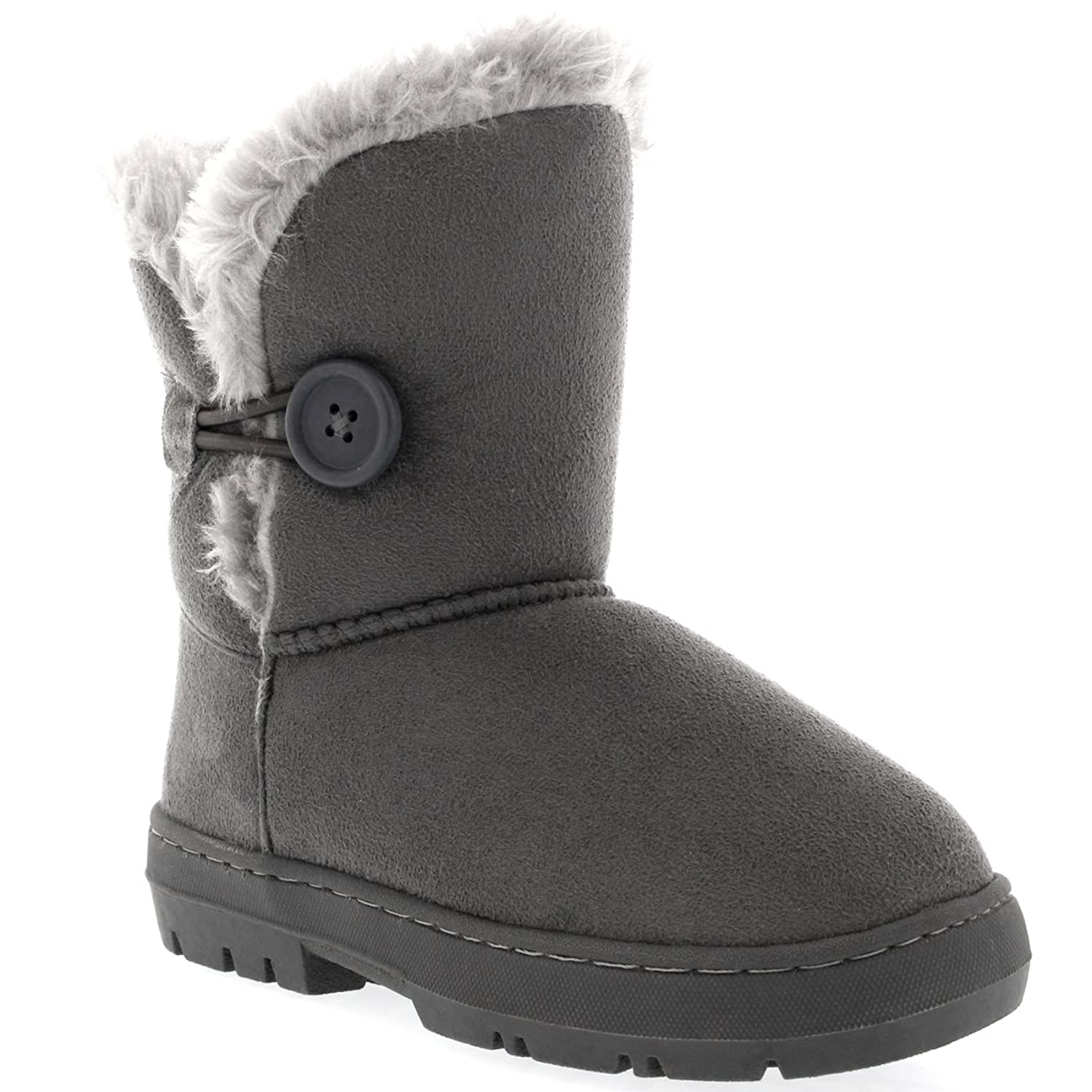 Kids Girls Button Winter Fur Lined Snow Rain Cosy Casual Warm Boots:  Amazon.ca: Shoes & Handbags