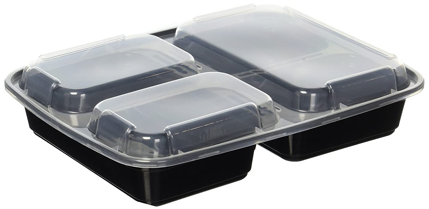Meal Prep Containers With 3 Compartments Portion Control Bpa Free Holder 5825 Reusable Microwave Safe Bento Style Boxes Set Of 10 By Tripworthy