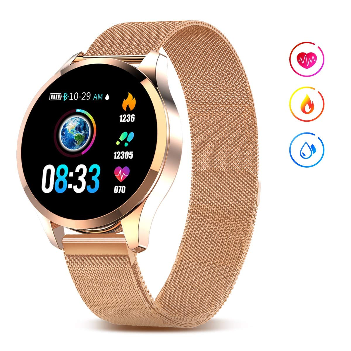 GOKOO Smart Watch for Men Women with All-Day Heart Rate Blood Pressure Sleep Monitor IP67 Waterproof Activity Tracker Calorie Running Counter Gold by GOKOO