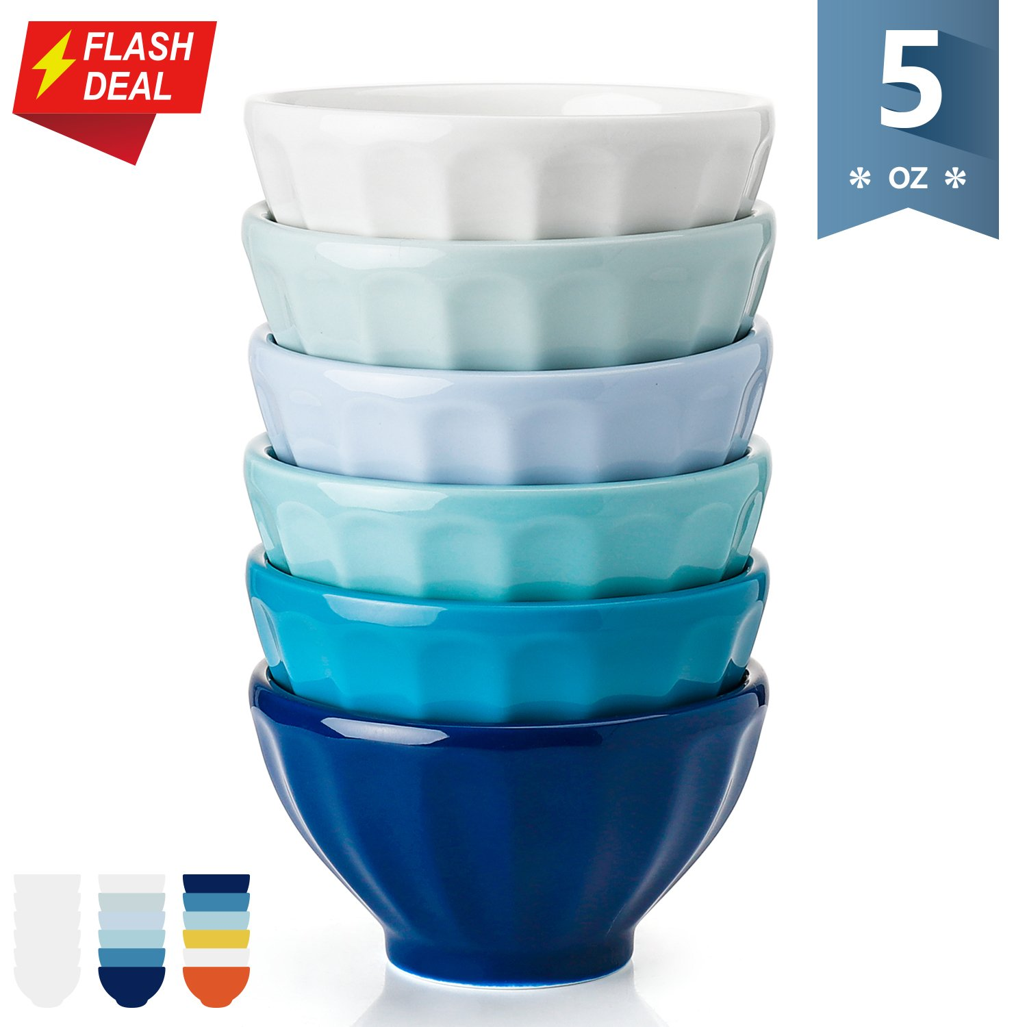 Sweese 1125 Porcelain Fluted Bowls - 5 Ounce for Ice Cream Dessert, Dipping Sauces, Small Side Dishes - Set of 6, Cool Assorted Colors by Sweese (Image #1)