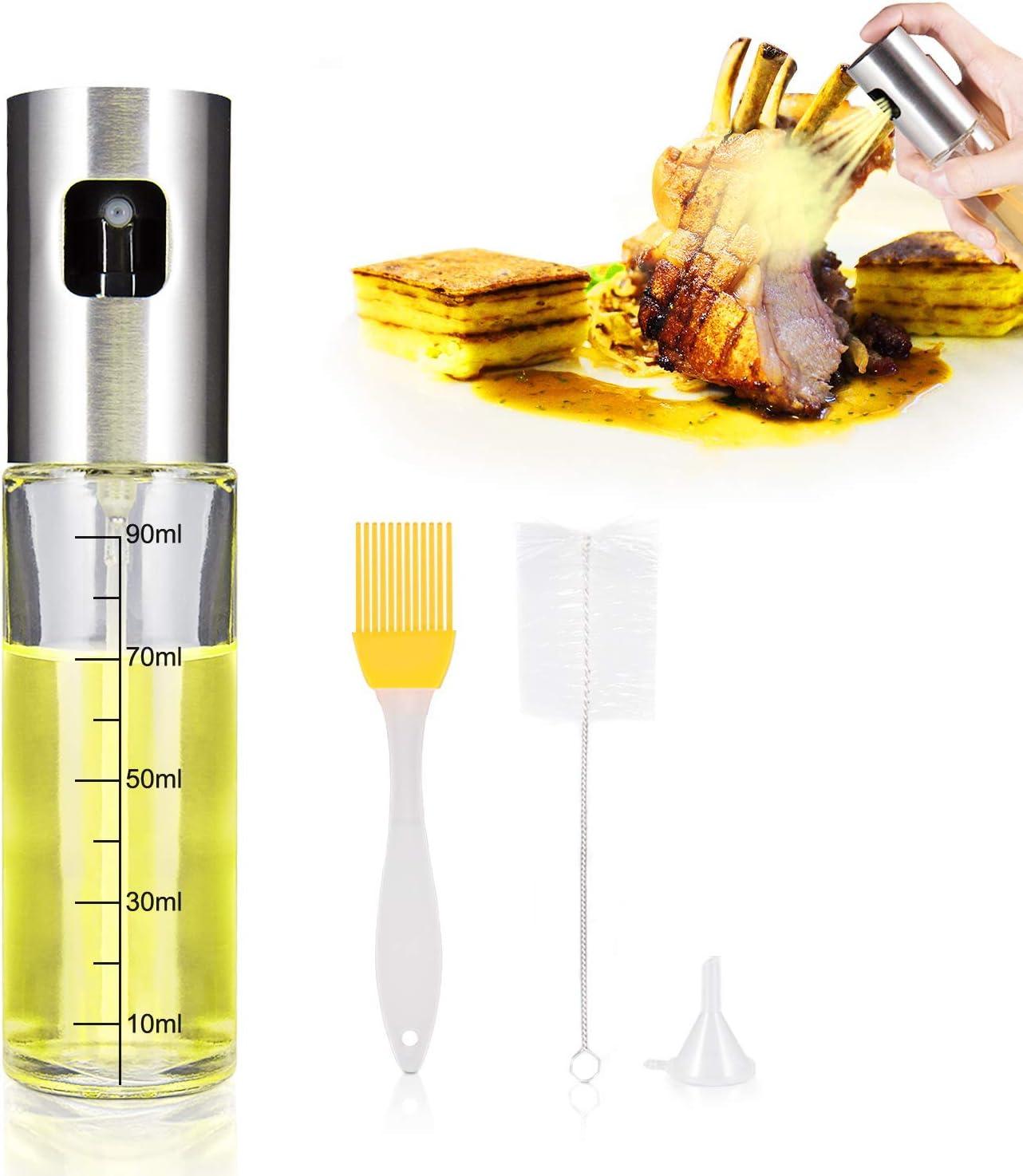 iTrunk Dispensador de Pulverizador De Aceite Incluso Rociando Pulverizador de Botella de Aceite Vidrio de Grado Alimenticio Recargable Botella de Rociador de Aceite de Oliva para Cocinar