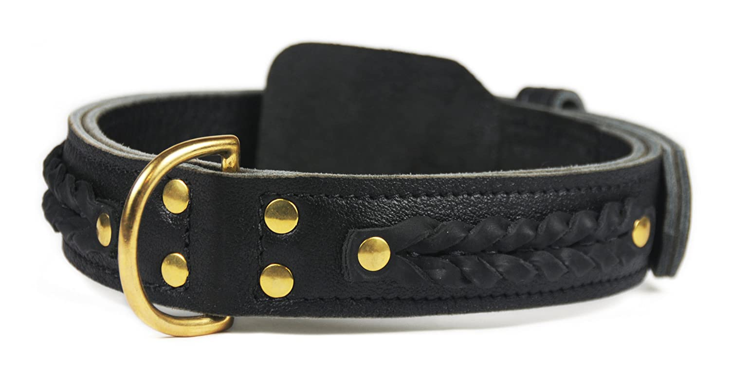 Dean and Tyler BRAIDED HEAVEN , Leather Dog Collar with Chrome Plated Steel Hardware Black Size 28  by 1-3 4  Fits Neck 26  to 30