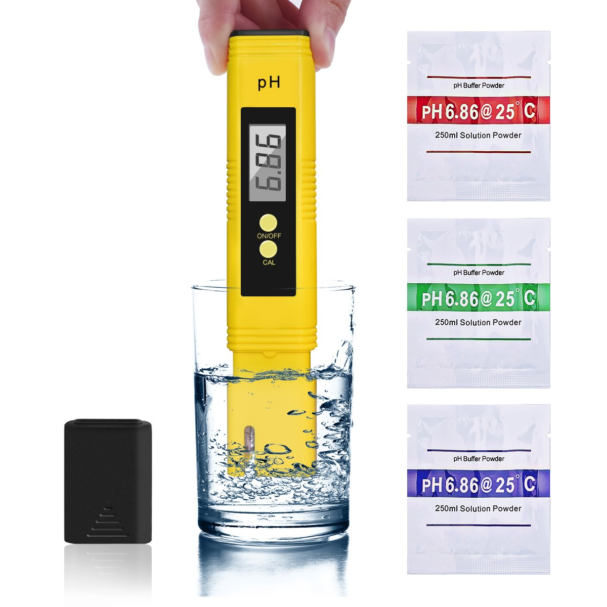 Digital PH Meter - IEFWELL PH Tester High Accuracy Water Quality Tester with 0-14 PH Measurement Range, PH Meter Kit with ATC for Household Drinking, Pool and Aquarium Water