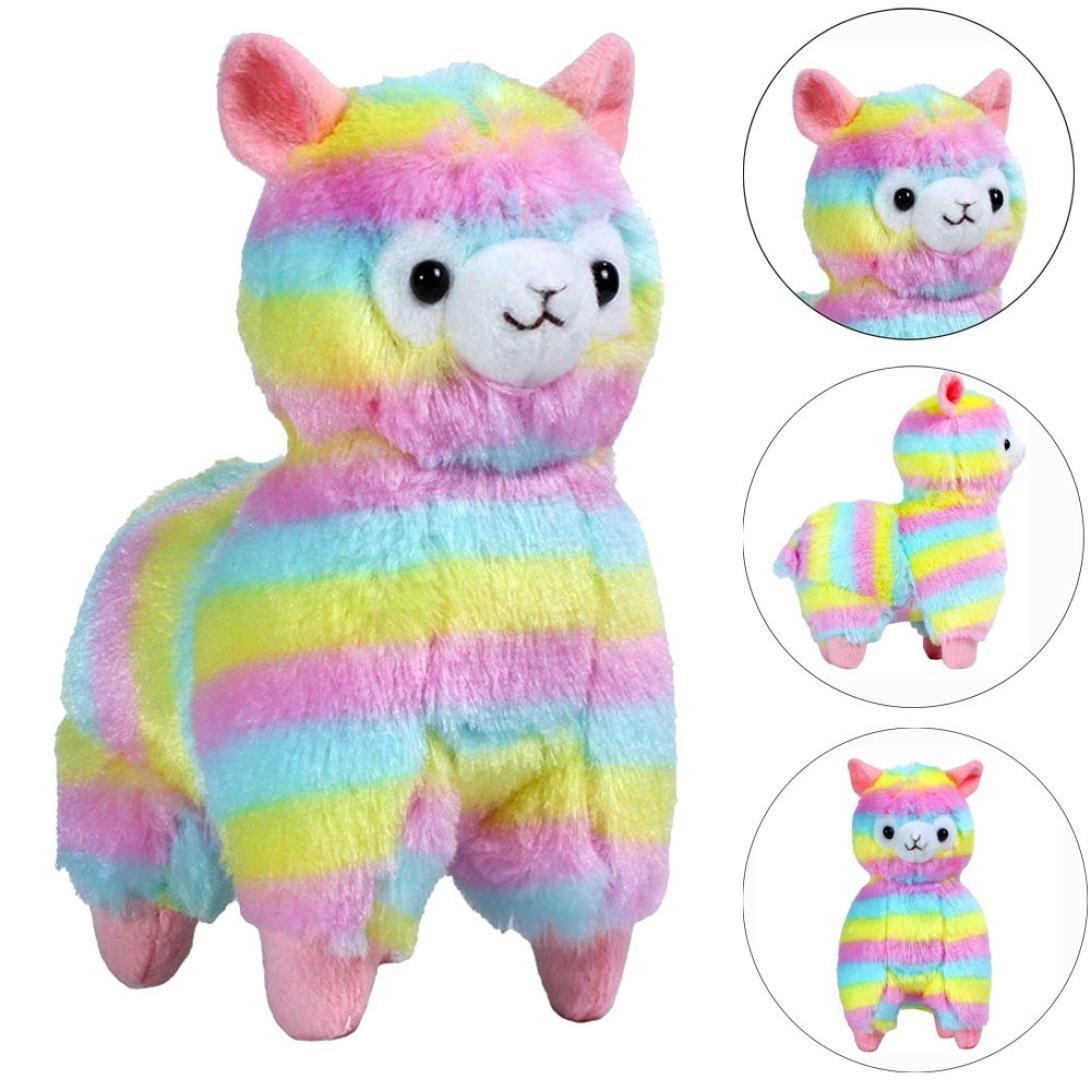 Amazon Com Staron Plush Toy Rainbow Alpaca Doll Colorful Alpaca
