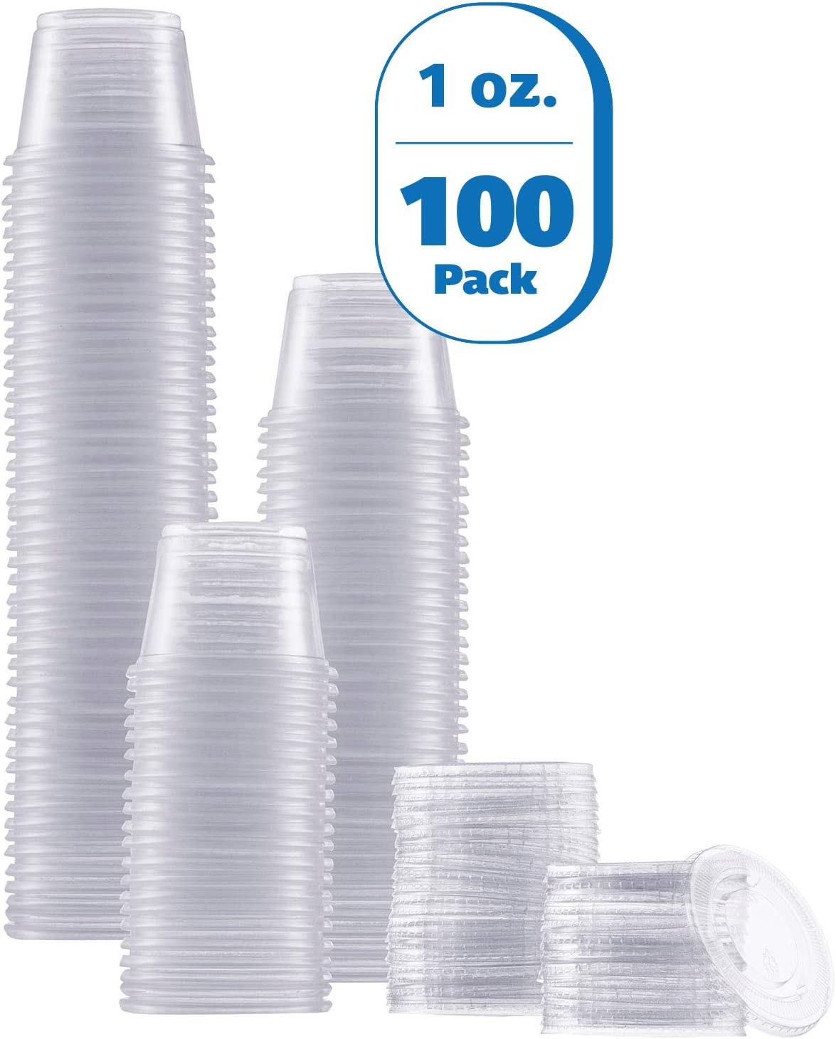 Zeml Portion Cups with Lids (1 Ounces, 100 Pack) | Disposable Plastic Cups for Meal Prep, Portion Control, Salad Dressing, Jello Shots, Slime & Medicine | Premium Small Plastic Condiment Container