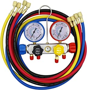 hikotor 4 Way AC Diagnostic Manifold Gauge Set Compatible with R134A R410A R22 Refrigerants with 5 Feet Hose Works on Car Freon Charging and Evacuation