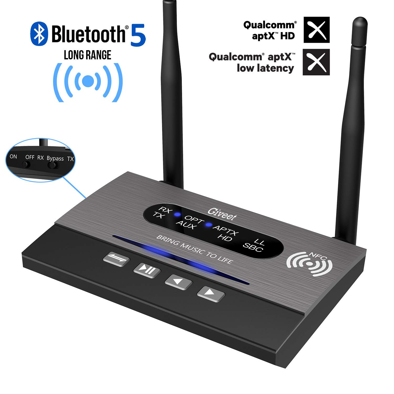 Transmisor Receptor Bluetooth 5.0 GIVEET Aptx Optica BT-B22-