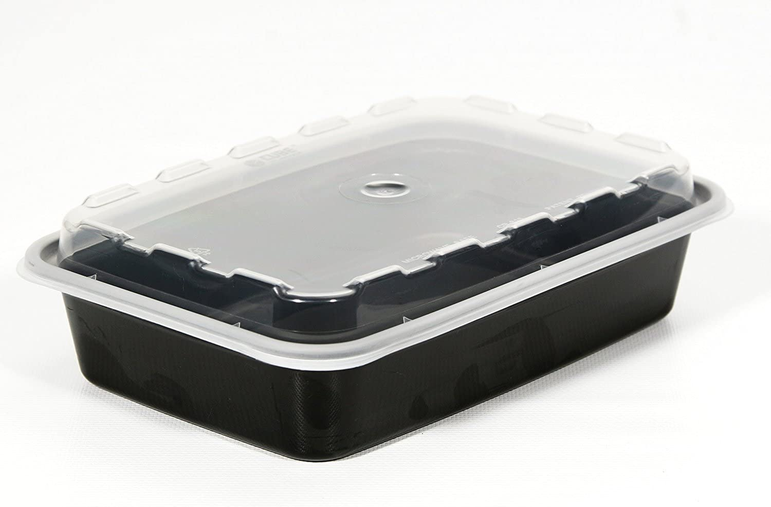 Set of 10 Plastic Container with Clear Plastic Dome Lid (Black)