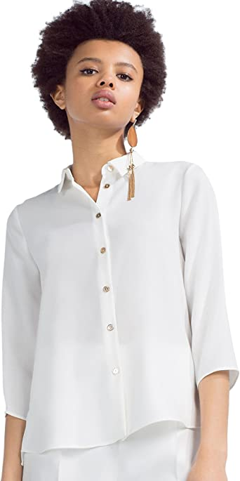 Zara - Camisa botón Dorado, Talla XS: Amazon.es: Ropa y accesorios