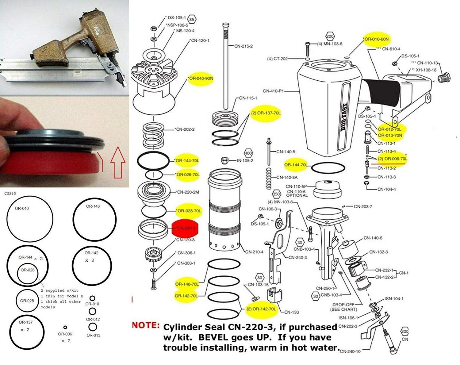 O-Ring Depot Fits and Compatible with Complete O-Ring Kit and Poppet Seal for Duo-Fast CN350 CN325