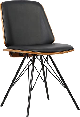 Armen Living Inez Dining Chair in Black Faux Leather and Black Powder Coat Finish