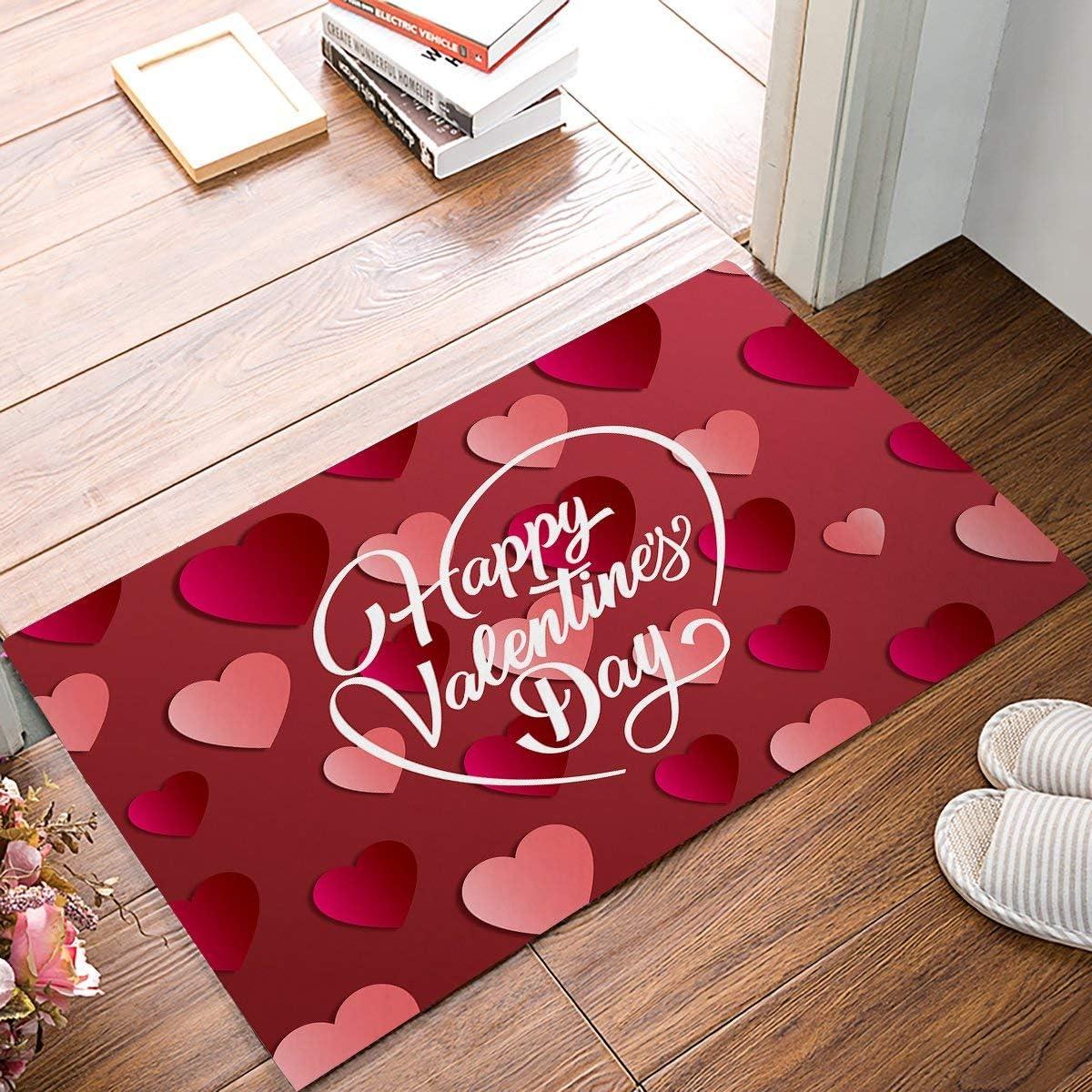 FAMILYDECOR Happy Valentine s Day with Heart Shaped Pattern Door Mat Rug Indoor Front Door Shower Bathroom Entrance Mats Rugs Doormat, Non-Slip Doormats, 20 X 32 Inch