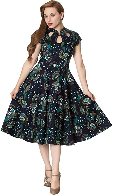 Vintage Style Dresses | Vintage Inspired Dresses Banned Apparel - Womens Proud Peacock Cut Out Dress £34.56 AT vintagedancer.com