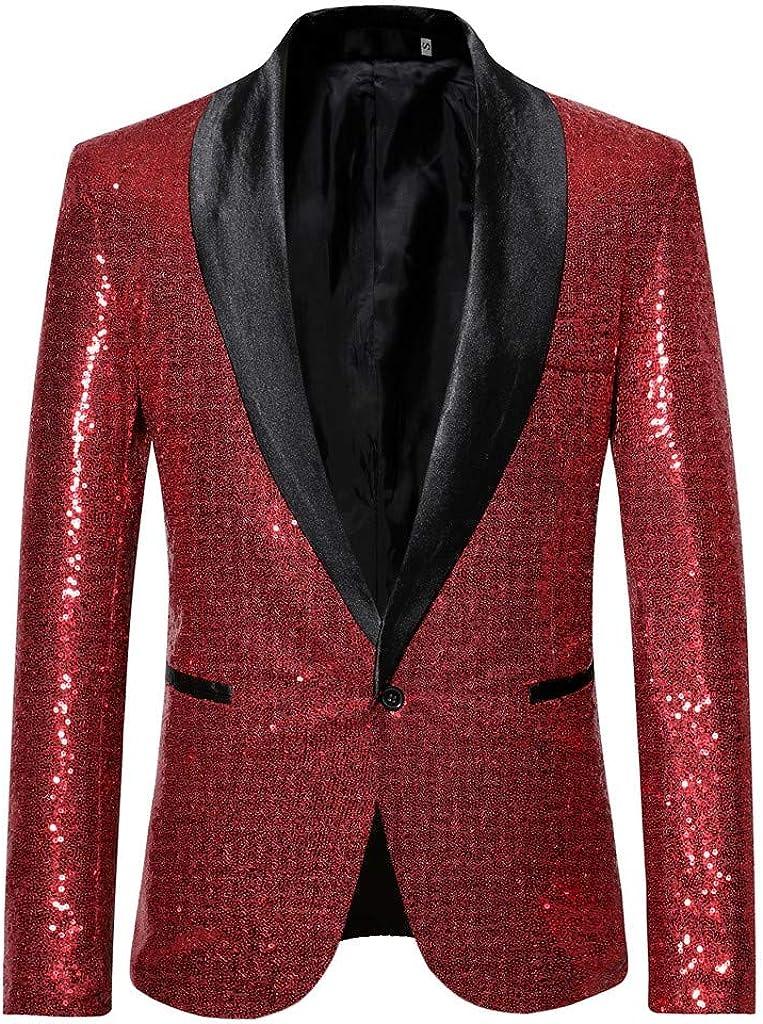 Tefamore Trajes Hombre Chaquetas Americanas Charm Casual Un Botón Fit Suit Traje Blazer Abrigo Abrigo de Fiesta de Lentejuelas Chaqueta