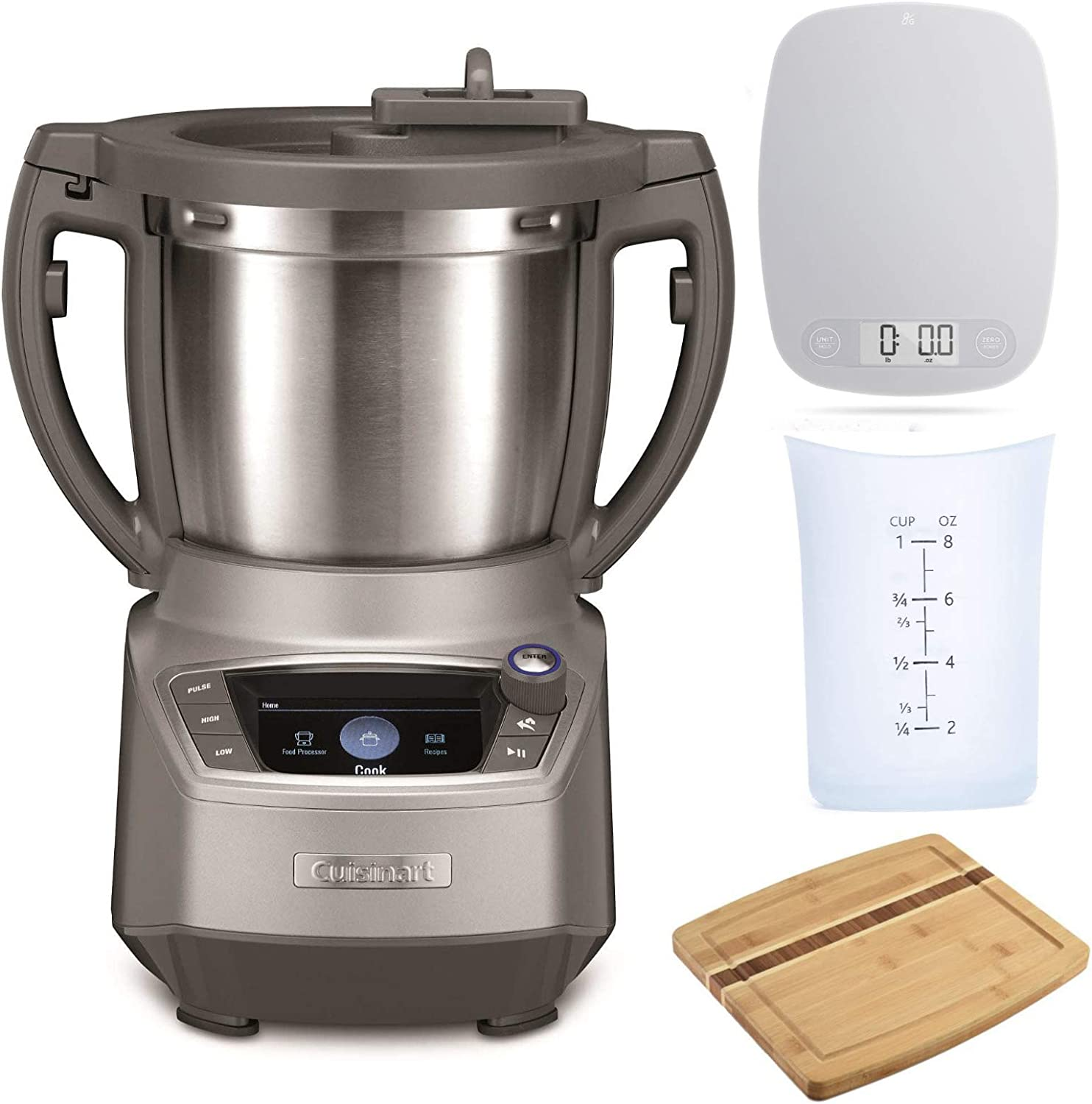 Cuisinart FPC-100 CompleteChef Cooking Food Processor with Measuring Cup, Bamboo Cutting Board and Kitchen Scale Bundle (4 Items)