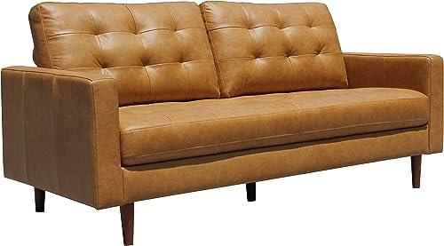 Amazon Brand Rivet Cove Mid-Century Modern Tufted Leather Apartment Sofa
