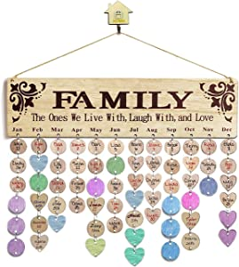 Wooden Calendar Birthday Reminder Wall Hanging Board Plaque, with Unfinished Wood Slices 100 PCS Wooden Discs,Wood Crafts for Family Friends Birthday Reminder Home Wall Decor (Family Calendar)