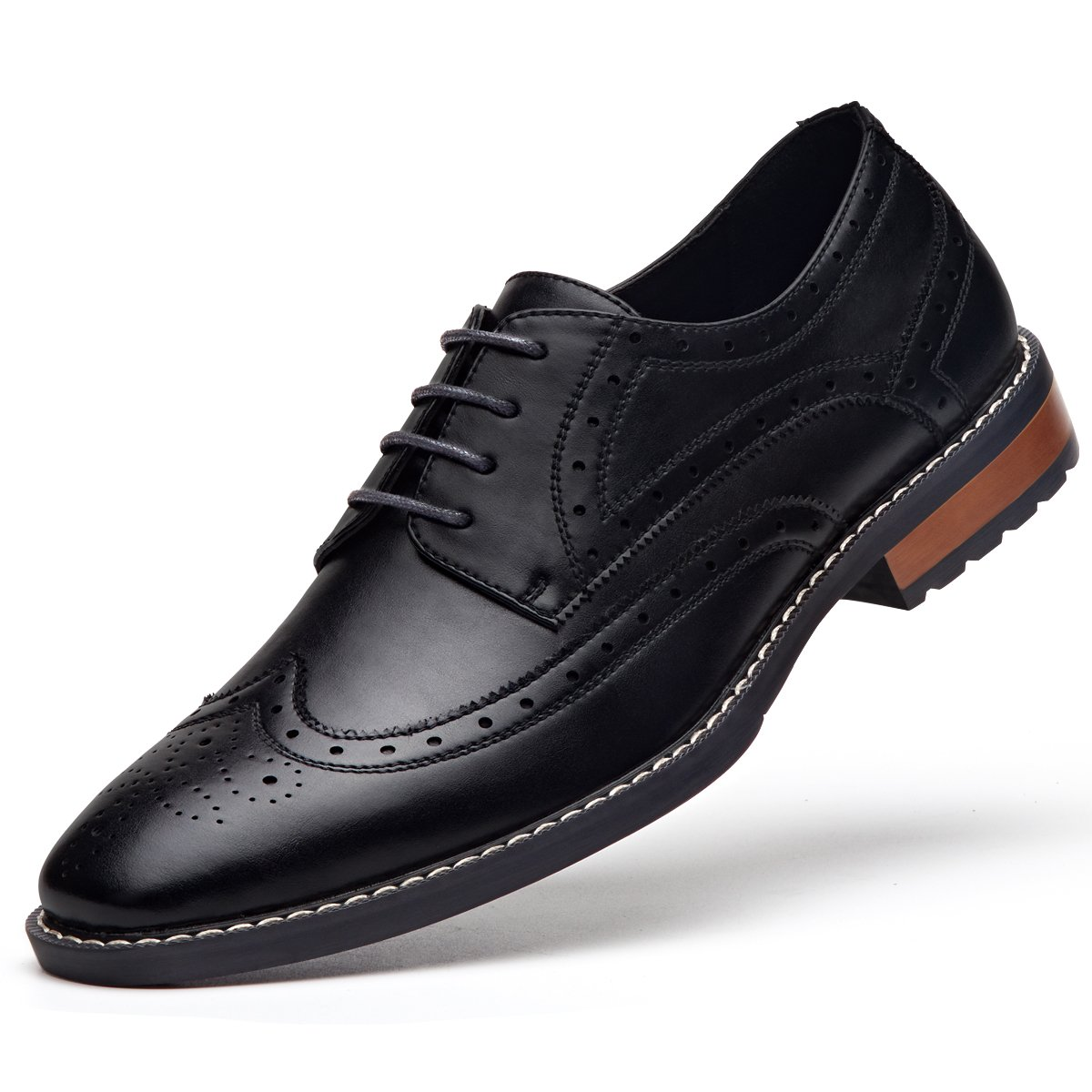 Men's Leather Oxford Dress Shoes Formal Wing-Tip Lace up Derby Shoes Black 10 by GM GOLAIMAN