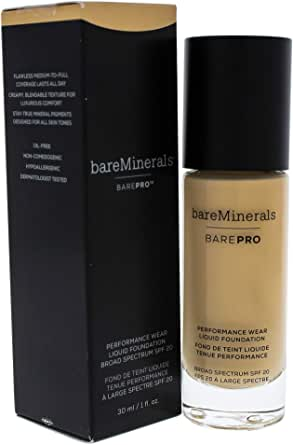 bareMinerals BarePro Performance Wear Liquid Foundation SPF 20 - 8 Golden Ivory for Women - 1 oz Foundation, 30 ml