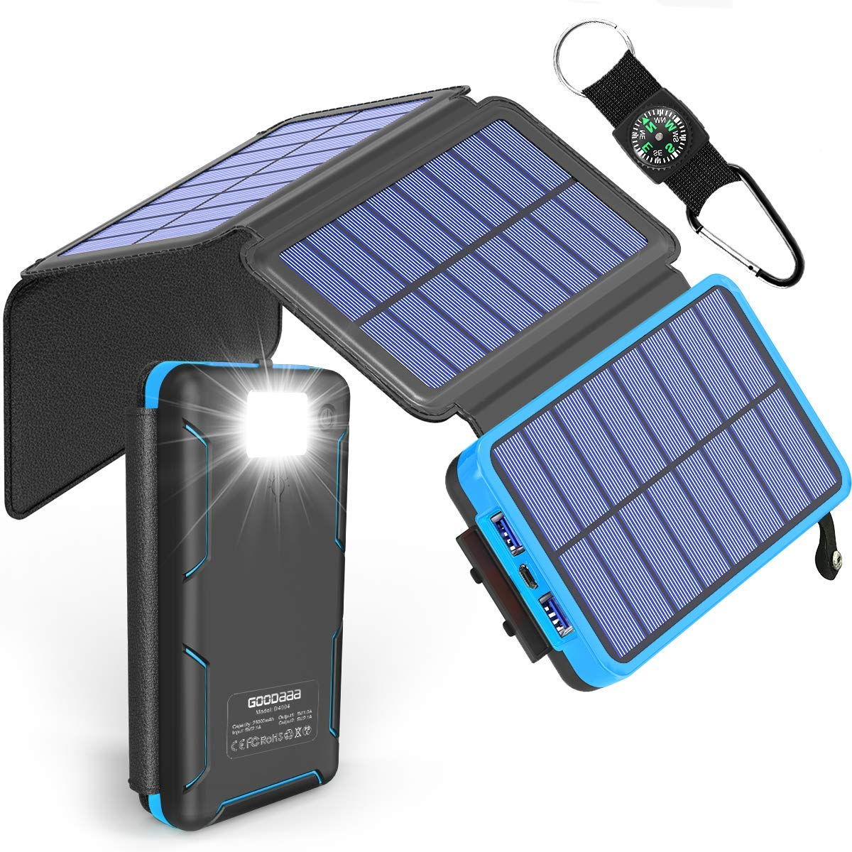 Solar Power Bank 25000mAh High Capacity USB External Battery Pack Backup Battery Power Pack with 4 Foldable Solar Charging Panels, Dual 2.1A Output Ports, Flashlight for iPhone Android Cellphones by GOODaaa