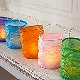 Lot de 5 Lanternes Photophores en Papier de Couleurs Vives pour Bougies LED par Lights4fun