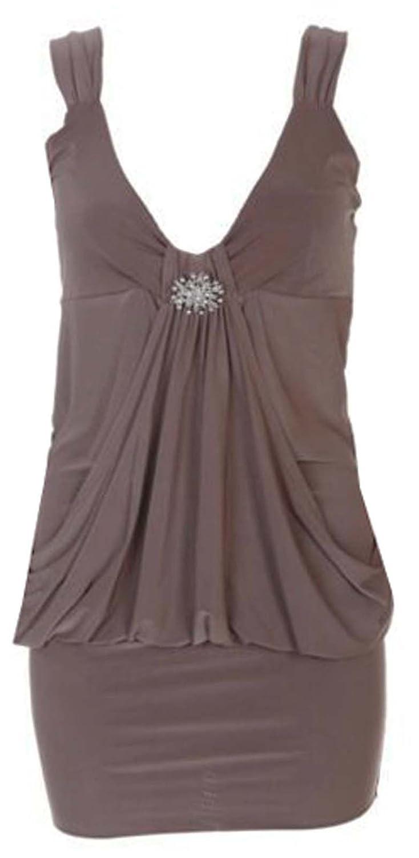 GirlzWalk @ Women Plain Diamante Broach Drape Mini Party Dress