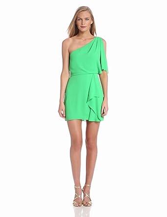 BCBGMAXAZRIA Women's Mina One Dress with Cascade, Light Evergreen, 0