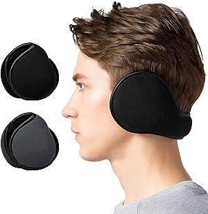 Lauzq Winter Ear Muffs for Men - Foldable Fleece Ear Warmers (1 Pack/ 2 Pack/3Pack)