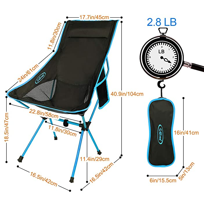 G4Free Upgraded Lightweight Portable Camping Chair Outdoor Folding Backpacking High Back Camp Lounge Chairs